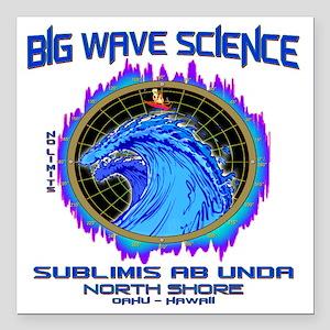 "NORTH SHORE BIG WAVE SCI Square Car Magnet 3"" x 3"""