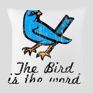 Bird Word Woven Throw Pillow