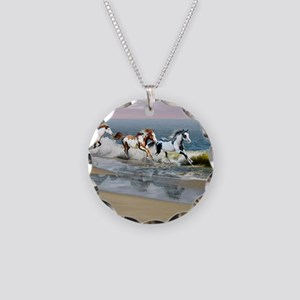 Painted Ocean Necklace Circle Charm