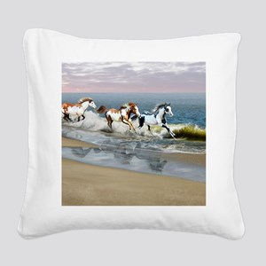 Painted Ocean Square Canvas Pillow