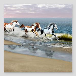 "Painted Ocean Square Car Magnet 3"" x 3"""