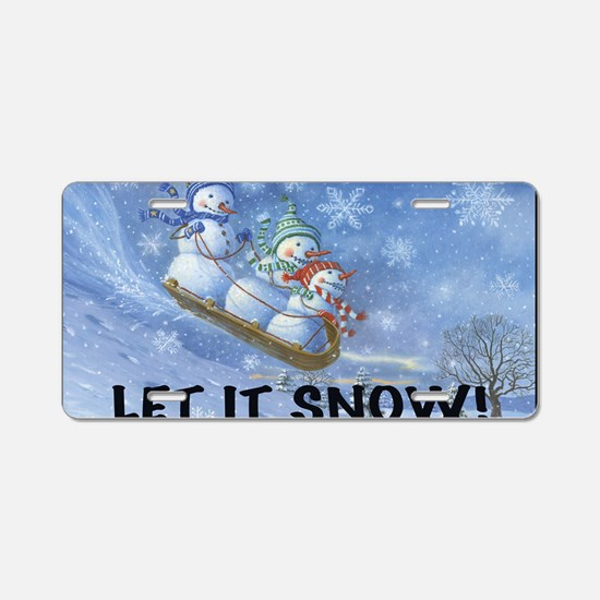 SNOWMEN SLEDDING YARD SIGN Aluminum License Plate