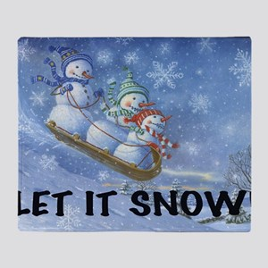 SNOWMEN SLEDDING YARD SIGN Throw Blanket