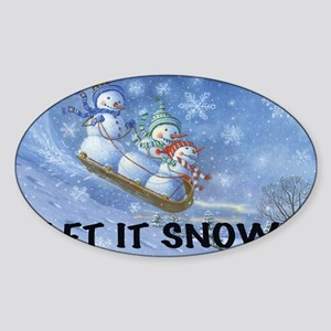 SNOWMEN SLEDDING YARD SIGN Sticker (Oval)
