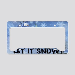 SNOWMEN SLEDDING YARD SIGN License Plate Holder