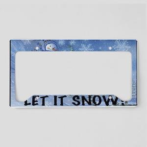 SNOWMEN SLEDDING YARD SIGN License Plate Holder