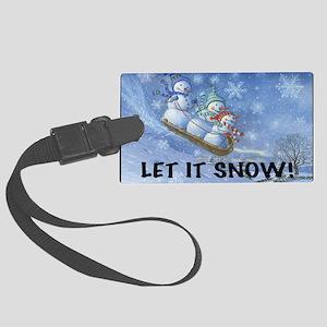 SNOWMEN SLEDDING YARD SIGN Large Luggage Tag