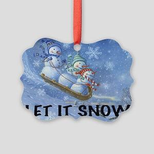 SNOWMEN SLEDDING YARD SIGN Picture Ornament