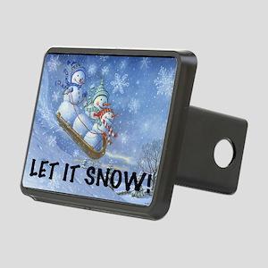 SNOWMEN SLEDDING YARD SIGN Rectangular Hitch Cover