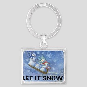 SNOWMEN SLEDDING YARD SIGN Landscape Keychain