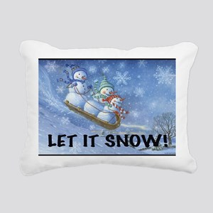 SNOWMEN SLEDDING YARD SI Rectangular Canvas Pillow
