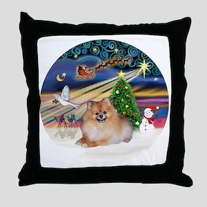 Xmas Magic - Pomeranian 4 Throw Pillow