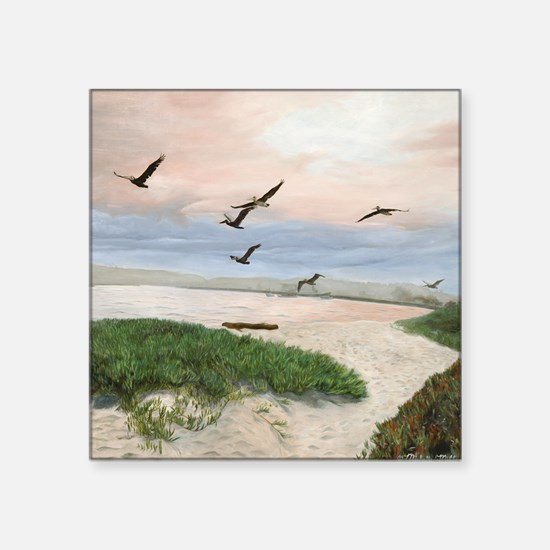 """Half Moon Bay Painting Sect Square Sticker 3"""" x 3"""""""