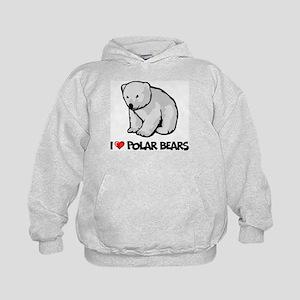 I Love Polar Bears Kids Hoodie
