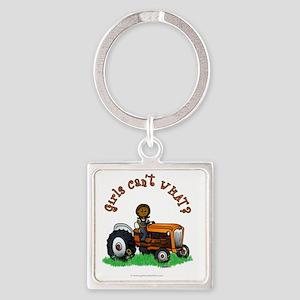 farmer-orange-dark Square Keychain