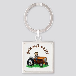 farmer-orange-light Square Keychain