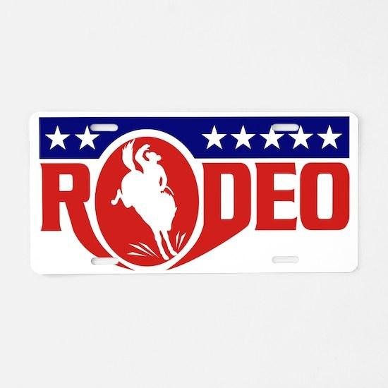 rodeo cowboy buciking bronc Aluminum License Plate