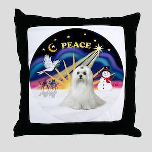 Xmas Sunrise - Maltese (C) Throw Pillow
