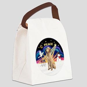 Xmas Sunrise - Yellow Labrador Canvas Lunch Bag