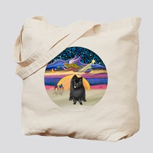 Xmas Star - Black Pomeranian Tote Bag