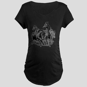 4 Horse Illustration Maternity Dark T-Shirt