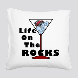 On Rocks Martini BLACK Square Canvas Pillow