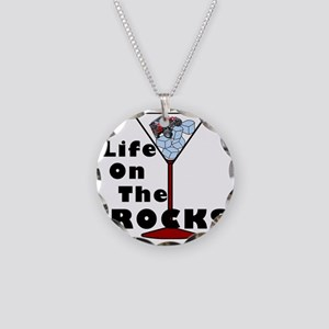 On Rocks Martini BLACK Necklace Circle Charm