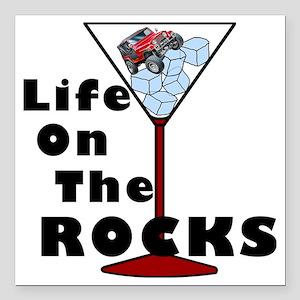 """On Rocks Martini BLACK Square Car Magnet 3"""" x 3"""""""