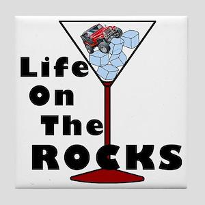 On Rocks Martini BLACK Tile Coaster