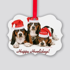 Basset Hound Puppies With Santa H Picture Ornament