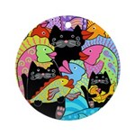 Colorful Fish & Cats Ornament (Round)