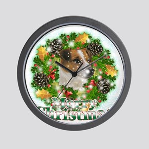 Merry Christmas Jack Russell Wall Clock