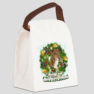 Merry Christmas Greyhound Canvas Lunch Bag
