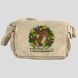 Merry Christmas Greyhound Messenger Bag