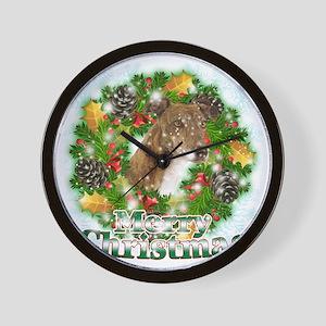 Merry Christmas Greyhound Wall Clock