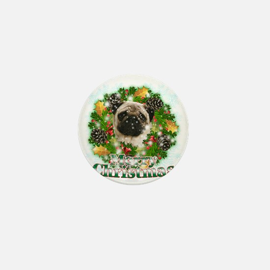 Merry Christmas Pug Mini Button