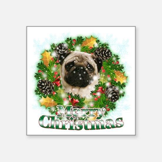 """Merry Christmas Pug Square Sticker 3"""" x 3"""""""