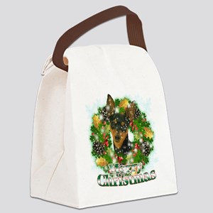Merry Christmas Min Pin Canvas Lunch Bag