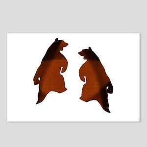BROWN 2 TONE DANCING BEARS Postcards (Package of 8