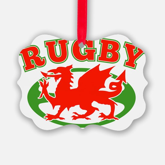 rugby welsh wales ball dragon Ornament