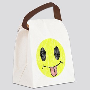 Tongue sticking out smiley vintag Canvas Lunch Bag