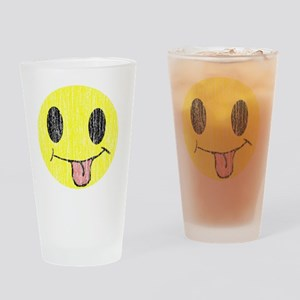 Tongue sticking out smiley vintage Drinking Glass