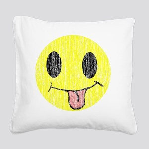 Tongue sticking out smiley vi Square Canvas Pillow