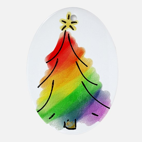 rainbow-xmas-tree_tr Oval Ornament
