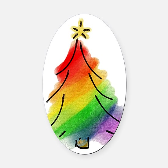rainbow-xmas-tree_tr Oval Car Magnet