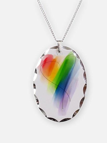 watercolor-rainbow-heart_tr Necklace