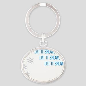 Let it snow inside Oval Keychain