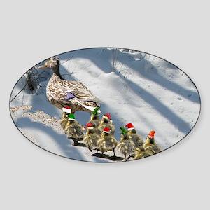 holiday ducks Sticker (Oval)
