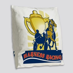 hHarness horse race racing cha Burlap Throw Pillow