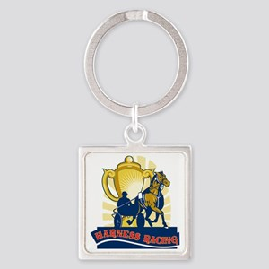 hHarness horse race racing champio Square Keychain